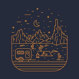 Camping natur abenteuer wilde linie abzeichen patch pin grafik illustration