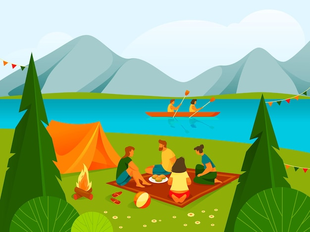Camping oder erholung im wald- oder parklandbanner