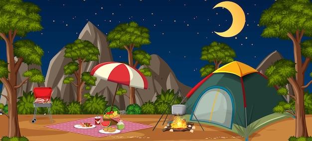 Camping oder picknick im naturpark bei nacht