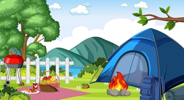 Camping oder picknick im naturpark tagsüber