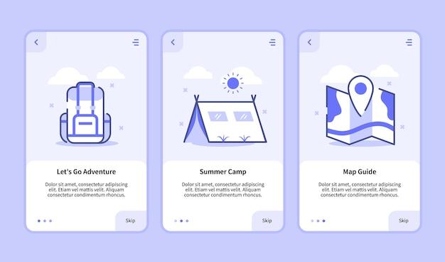 Camping onboarding bildschirm moderne benutzeroberfläche ux ui-vorlage für mobile apps smartphone lass uns abenteuer sommer camp kartenführer mit flachem stil gehen