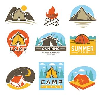 Camping outdoor adventures logos embleme gesetzt