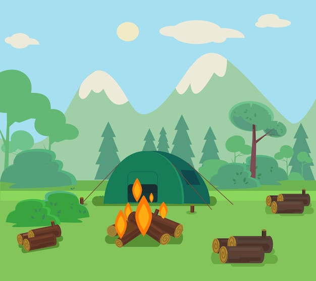 Camping reise illustration