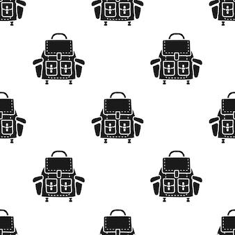 Camping-rucksack-muster. nahtlose hintergrundillustration des einfachen schattenbildes des rucksacks. stock vektorgrafik wallpaper für web, bekleidung, t-shirts, drucke.