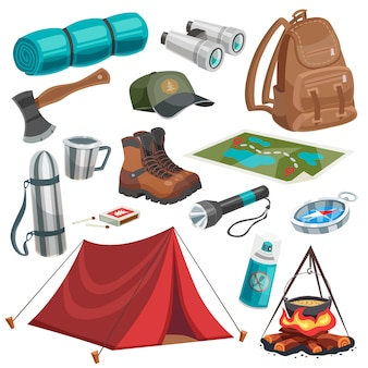 Camping scouting elements set