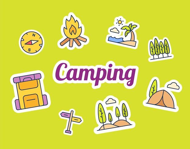 Camping-sticker-aufkleber mit gefülltem farbstil