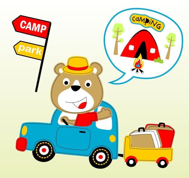 Camping tag cartoon vektor