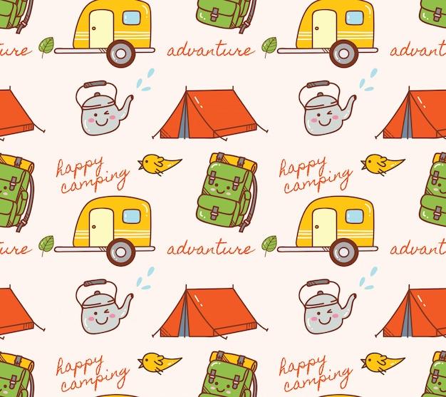 Camping themen nahtlose hintergrund