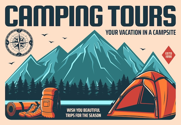 Camping touren und bergwandern oder klettern