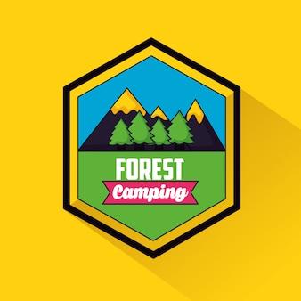 Camping trip label in flachen stil