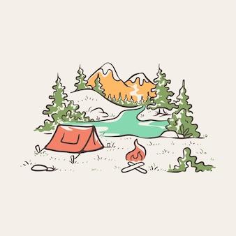 Camping, um die schönheit der natur zu genießen