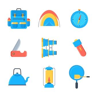 Camping und abenteuer-icon-set