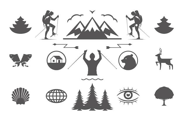 Camping- und outdoor-abenteuer-design-elemente und symbole stellten vektorillustration ein. berge, wilde tiere und andere. gut für t-shirts, tassen, grußkarten, abzeichen und poster.