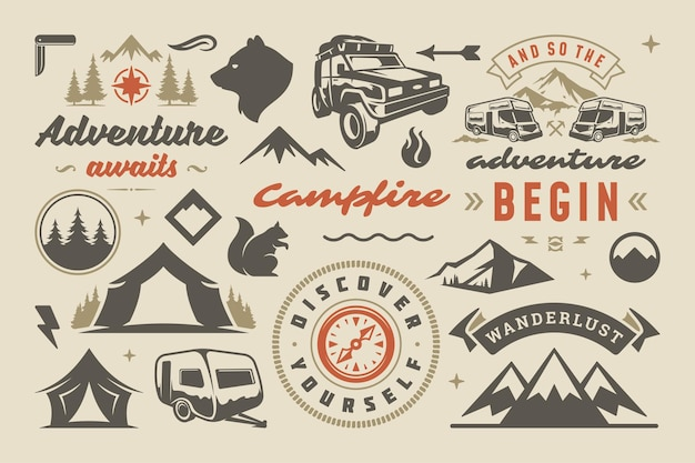 Camping- und outdoor-abenteuer-design-elemente, zitate und symbole vektorgrafik. berge, wilde tiere und andere. gut für t-shirts, tassen, grußkarten, foto-overlays und poster