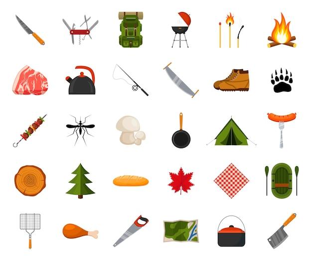 Camping und wandern icon set. waldwanderungselemente. camp ausrüstung sammlung.
