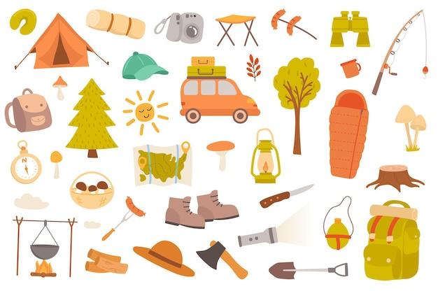 Camping und wandern isolierte objekte set sammlung von zeltauto wald ferngläser angelkarte