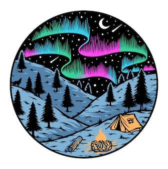 Camping unter dem aurora-abzeichen