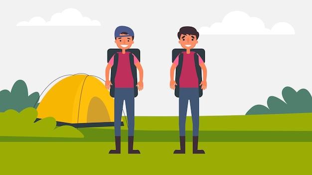 Camping vater sohn aktivitäten perfekte familienbindung verbringen zeit miteinander. kinder sind wesentlich für ihr wachstum und ihre entwicklung und für die art des menschen. illustration im flachen karikaturstil.