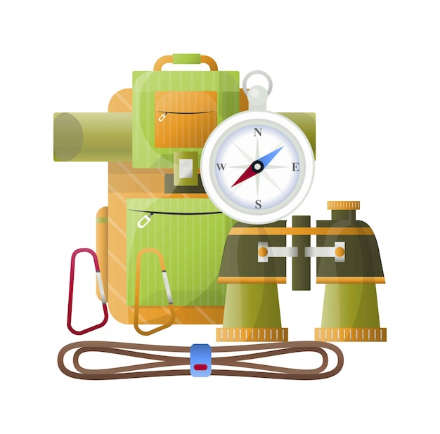 Camping vektor rucksack, fernglas und kompass
