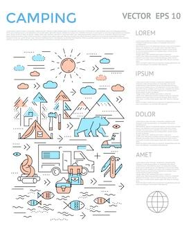Camping vertikale infografik