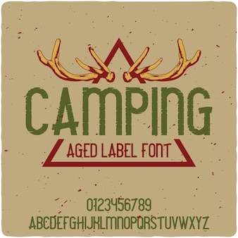 Camping vintage schriftzug