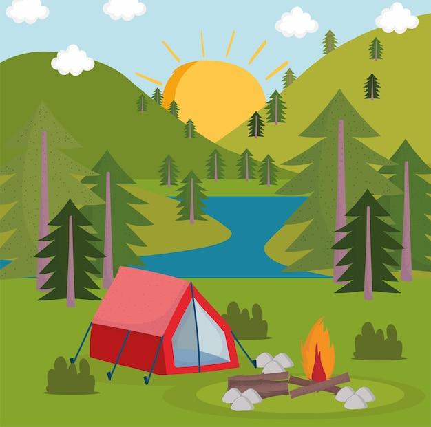 Camping wald panorama