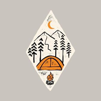 Camping-wanderabenteuer mit t-shirt-design mit grafischer illustration der schönheit der natur