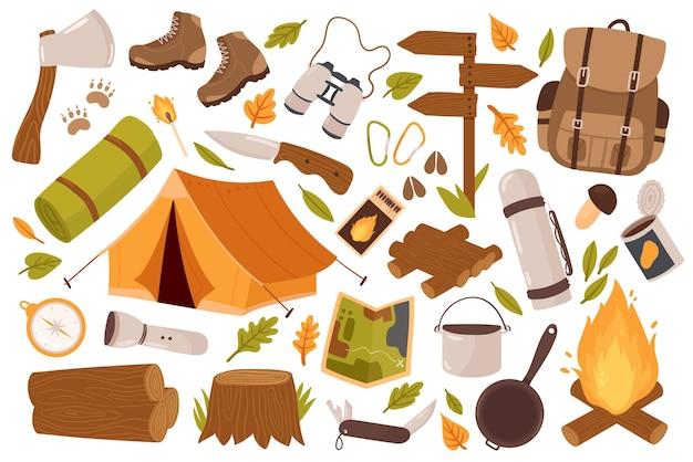 Camping-wanderausrüstung für trekking-touristen stellt die camp-kollektion für das überleben in der wildnis ein