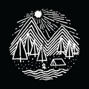 Camping wandern abenteuer natur grafik illustration vektor kunst t-shirt design