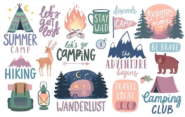 Camping wandern abenteuer schriftzüge