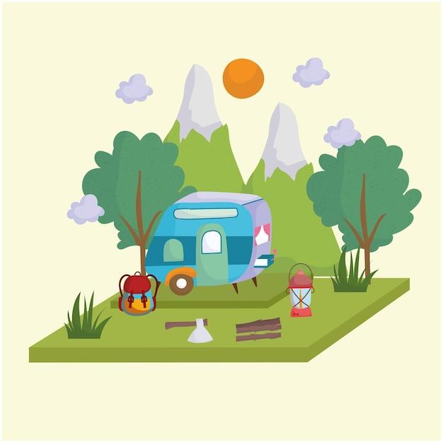 Camping wohnmobil berge