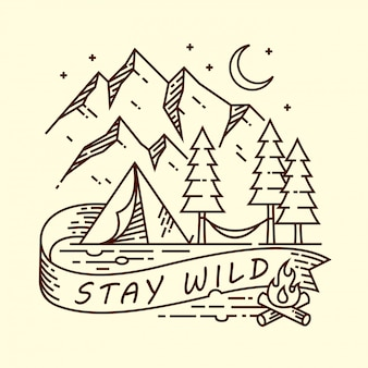 Camping zeilendarstellung