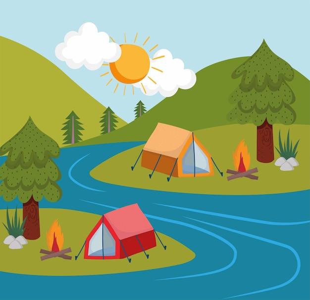 Camping zelte fluss