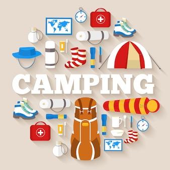 Campingausrüstung set kreis infografiken vorlage. symbole für ihr produkt oder ihre mobilen anwendungen.