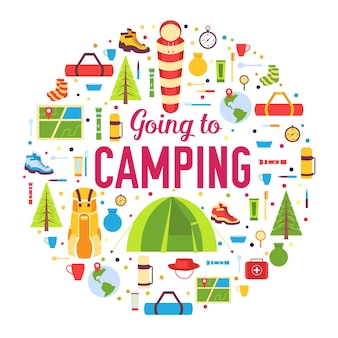Campingausrüstung set kreis infografiken vorlage. symbole für ihre mobilen produktanwendungen.