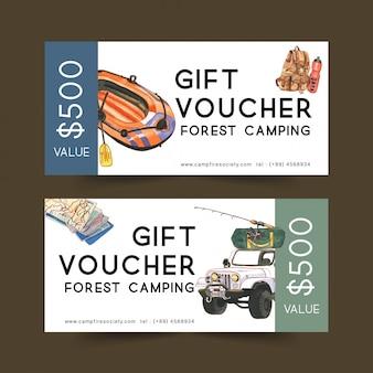 Campinggutschein mit van-, rucksack- und bootsillustrationen.