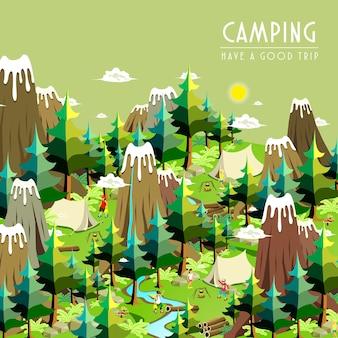Campingkonzept im isometrischen flachen design 3d