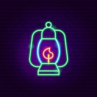 Campinglampe leuchtreklame. vektor-illustration der leichten förderung.
