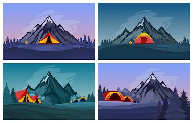 Campinglandschaften der wilden natur in den bergen