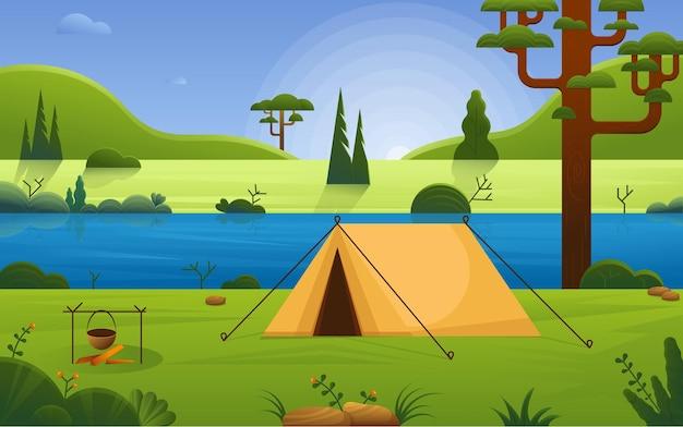 Campingplatz am flussstrand im wald waldlandschaft mit zelt