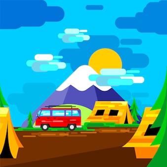 Campingplatz auf grafischen elementen der frühlingssaison