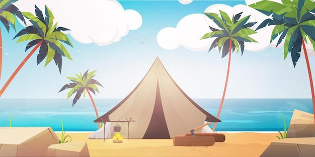 Campingzelt an der strandlandschaftsillustration