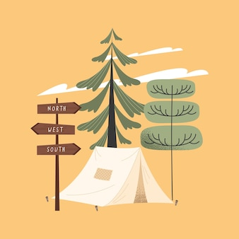 Campingzelt und baumwaldszene