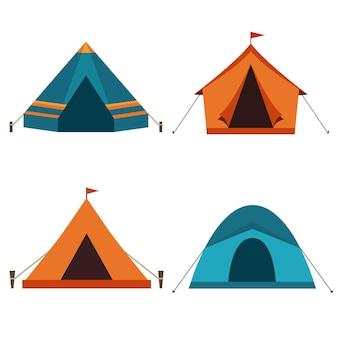 Campingzeltikonen in den farben orange und blau.