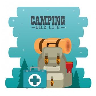 Campingzone mit ausrüstung