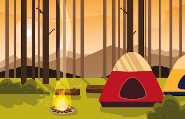 Campingzone mit zelt- und lagerfeuersonnenuntergangszene