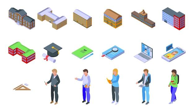 Campusikonen eingestellt. isometrischer satz campusvektorikonen für webdesign lokalisiert auf weißem hintergrund