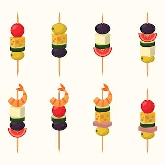 Canape snacks-vektor-illustration.
