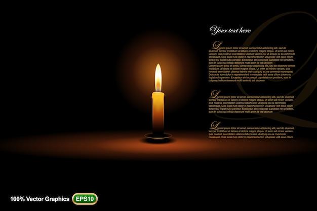 Candle ads vorlage vorlage nach oben, auf dunklem hintergrund