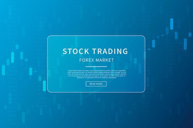 Candlestick-diagramm in der finanzmarktillustration auf blauem hintergrund-devisenhandel-grafikdesignkonzept
